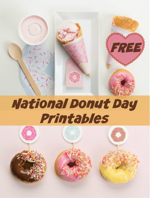 These national donut day party printables would also make excellent toppers and tags for a children's party because of their lovely, and bright colours. Go on, have a donut!