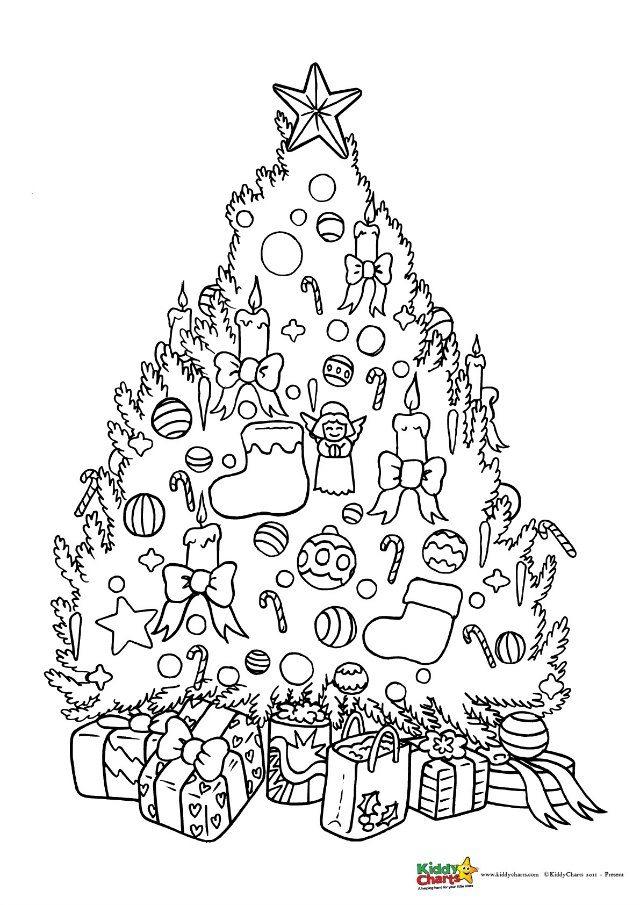 Christmas tree coloring for kids #coloringpages #coloringpagesforadultsandkids #freeprintablecoloringpages