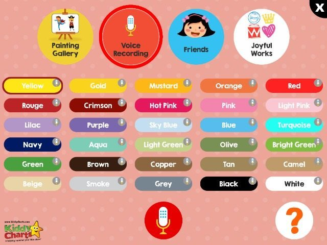 Painting Gallery allows you to record the names of the colours in the app to help your children learn them as they use them from their palette.