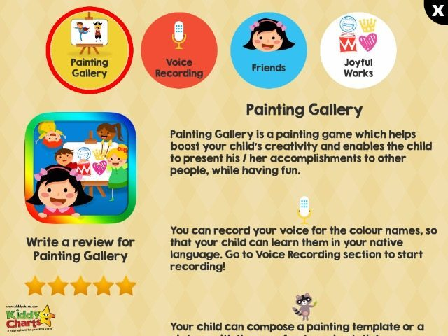 The parents forum within the Painting Gallery allows you to find more info on the App and discover the friends and characters.