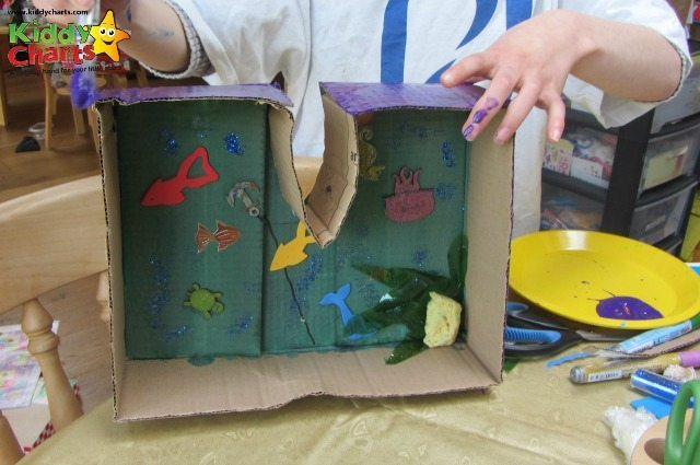 We are painting our cardboard box craft now - its upside down at the moment, but do you get the idea?!?