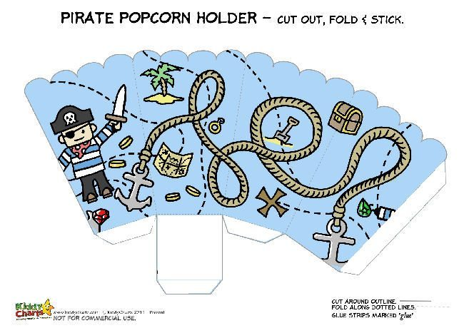 Printable Pirate Popcorn Holder for Kids