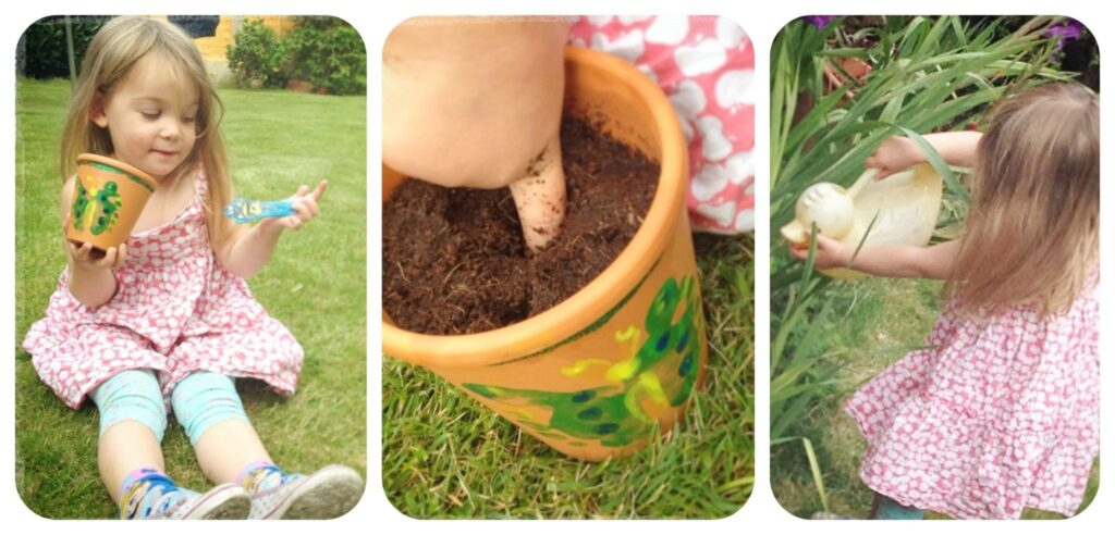 Sowing seeds - A great activity for children of all ages is to paint plant pots and sow seeds and tend to them as they grow.