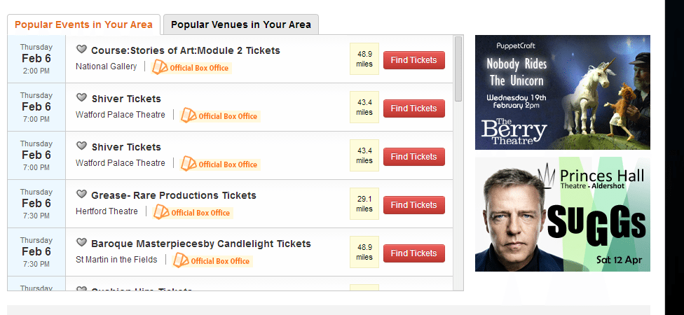 online tickets: Popular events in my area