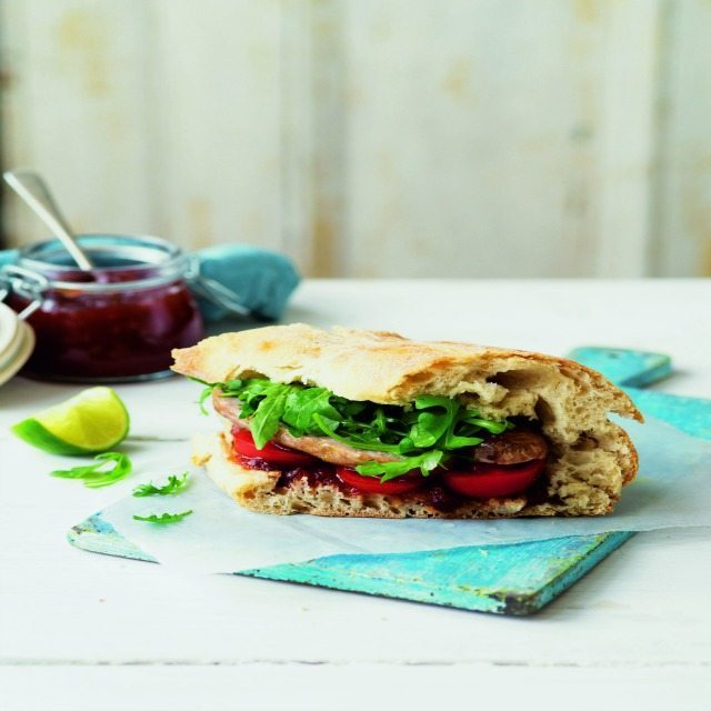 sausage sandwich on a chopping board posh sausage sandwich recipe