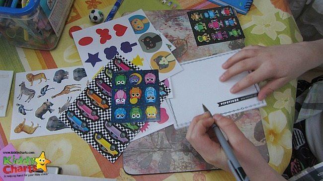 Writing our Pipsticks sticker club postcard