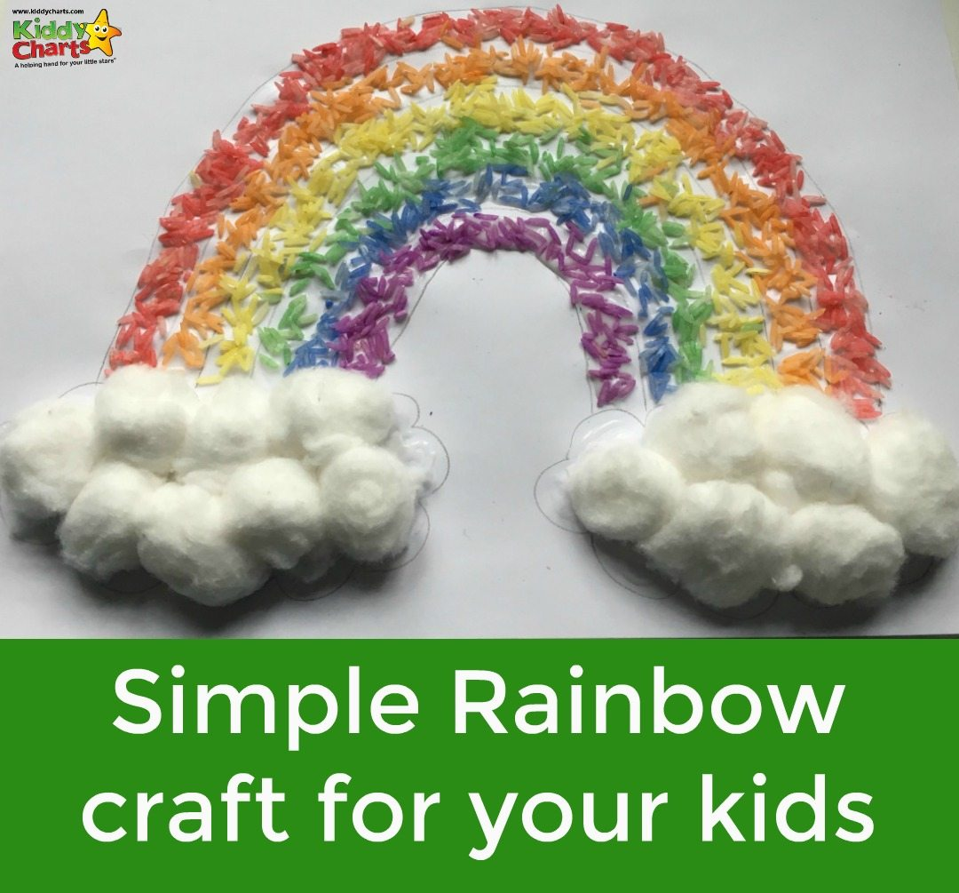 This is one of those simple, gorgeous rainbow crafts that is so easy to do, you wonder why you haven't done it before. The kids will love it, and the basic tools; rice, a bag, and a few cotton balls, shouldn't be hard to find either. It is a wonderful sensory activity too thanks to the coloured rice.