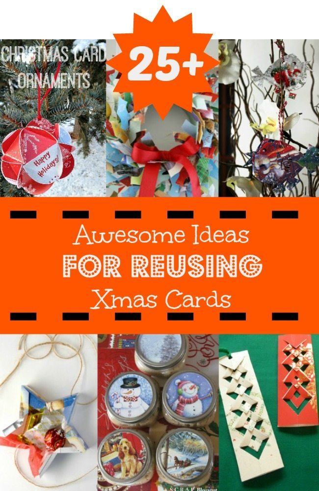 25 ideas for reusing christmas cards for How to recycle old christmas cards