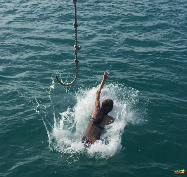 The rope swing was a favourite with the kids on D Boat Antigua...perfect splashing!