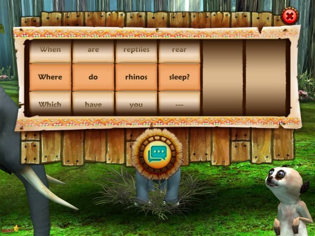 You can ask Darwin questions through the Word Wheel in the game.