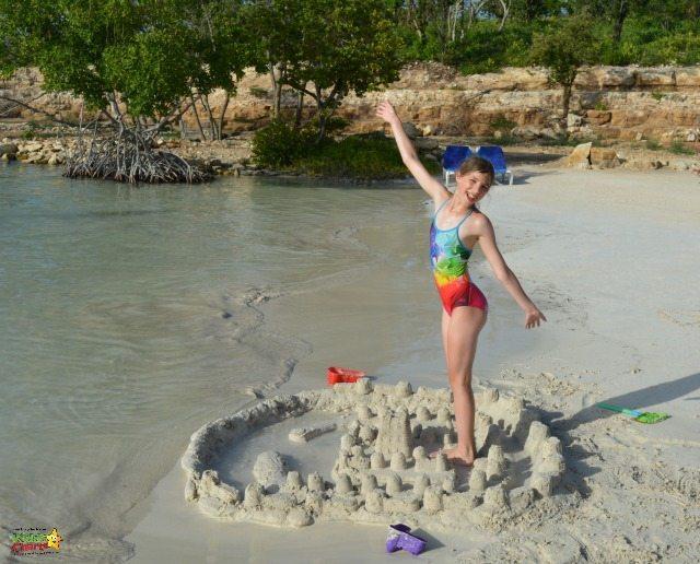 Building sandcastles at verandah resort and spa in Antigua.