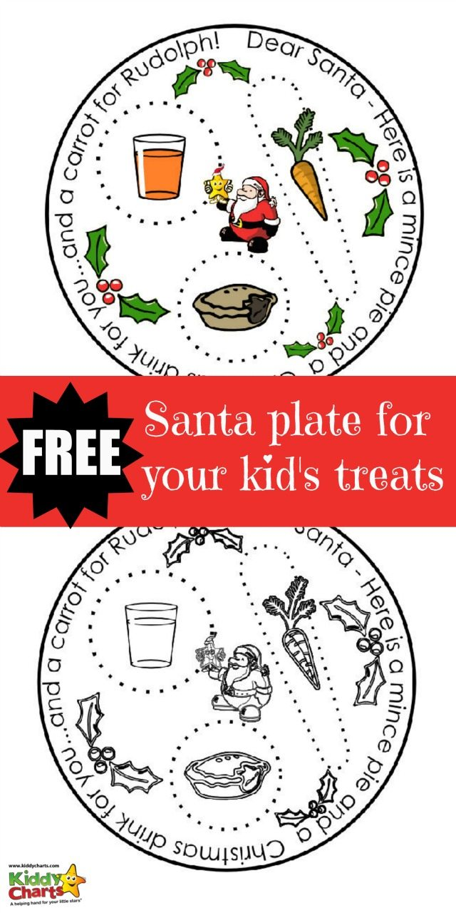 Free printable christmas coloring book pages - Free Rudolph And Santa Plate Printable