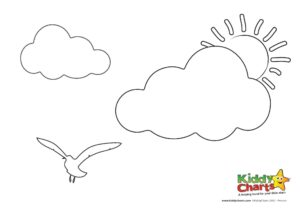 Add our seagull and cloud to your collection of our summer colouring pages