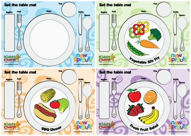 Four fantastic designs for table mats to help teach kids how to set the table - perfect for imaginative play, and even to help kids to grow their vocabulatary. And the best thing ab out them - they are free!