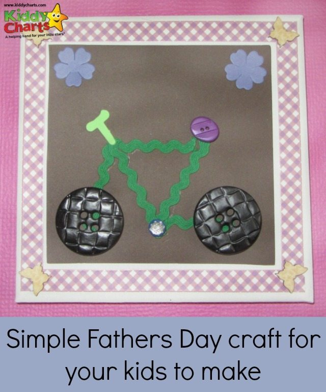 If you need a simple Fathers Day crtaft - try this bike on a canvas, made from buttons, and ribbon,