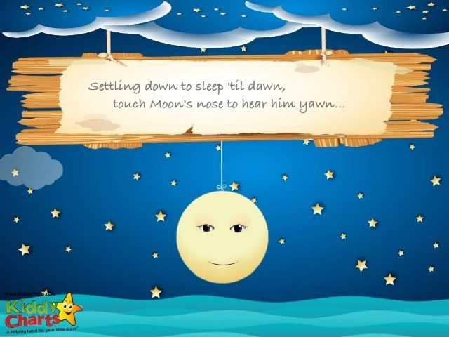 The little moon character needs help with yawning and closing his eyes; see what your little one can do to get him to go to sleep as part of their sleep routine.