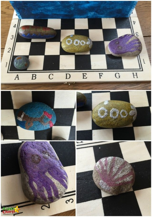 This is some of the ways that we decorated the stones for the battleship craft we did. Perfect for the under the sea theme, but you can do anything you want here really...