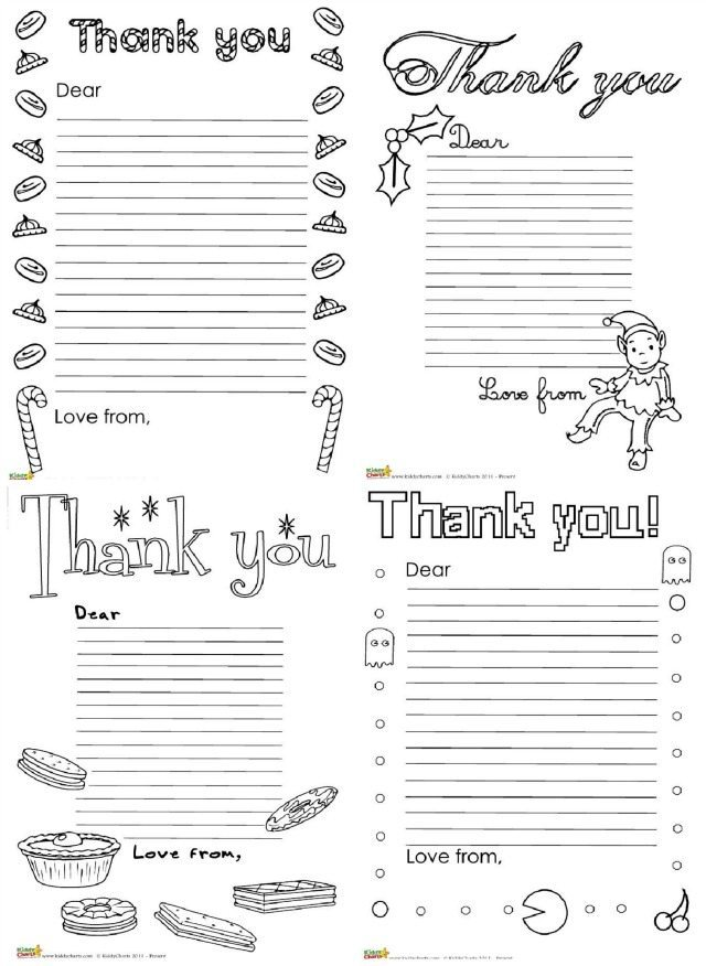 These thank you letters are something a little different. Get the kids really interested in saying thank you by getting them to colour in the designs around the writing for you? This way, saying thank you won't really seem like such a chore after all!