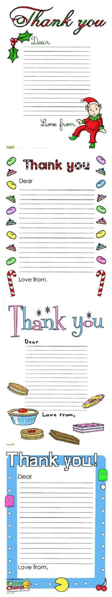 Thank you letters are an important part of birthdays and Christmas. Kids need to learn that thank you is a wonderful way to show their appreciation of what people have dome for them. Thank you letters are a tradition at Christmas and birthdays in our house; so here are a few free thank you letters to help you out too!
