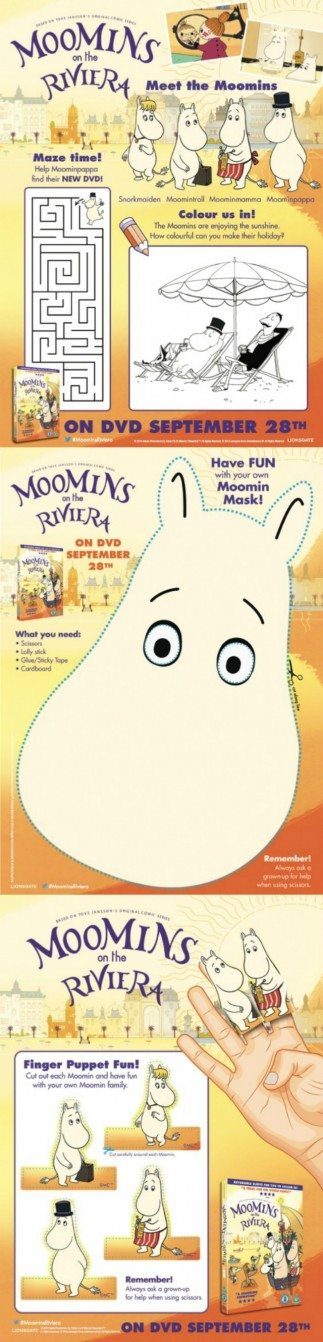 Do your kids love The Moomins - if they do, then these free activity sheets are perfect for them...a mask, and finger puppets to keep little hands busy!
