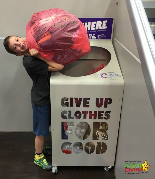 You can easily find the TK Max Give up Clothes for Good bins - can you tell we are happy to give them up?!!?