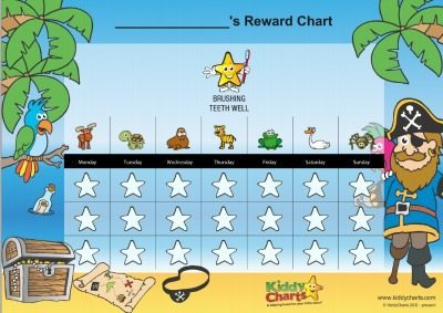 Gorgeous reward chart for kids - anyone that likes pirates really - to encourage your kids to brush their teeth.. Register with us and get a photo and your name on this chart too! all FREE :-D