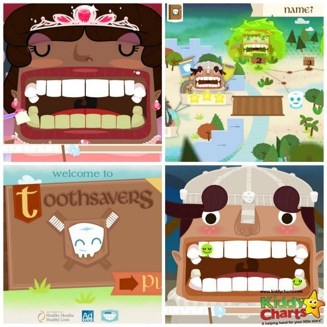 With the toothsavers tooth brushing app, you can clean your teeth, or play a game where you clean a character's teeth and zap the bacteria