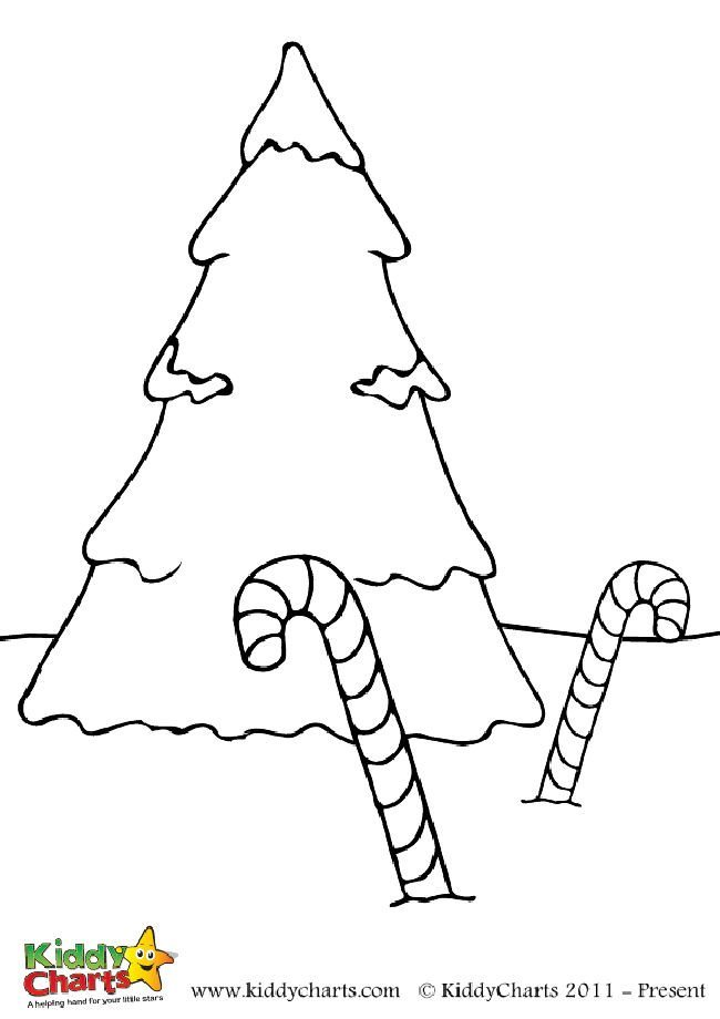Free Christmas tree and candy cane coloring