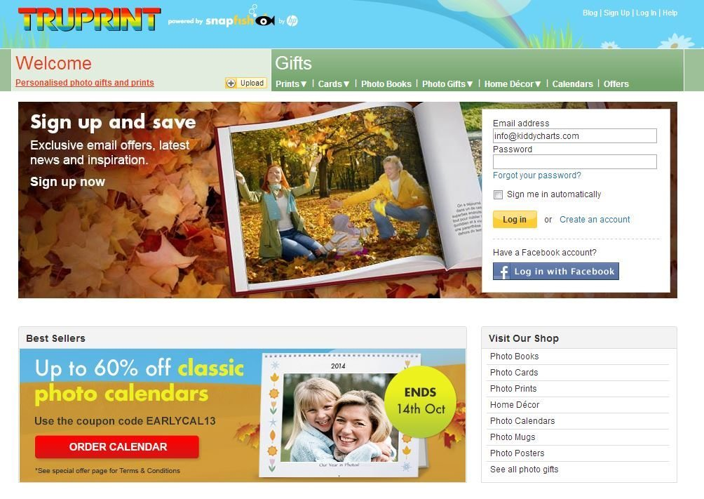 Truprint Photo Gifts: Homepage