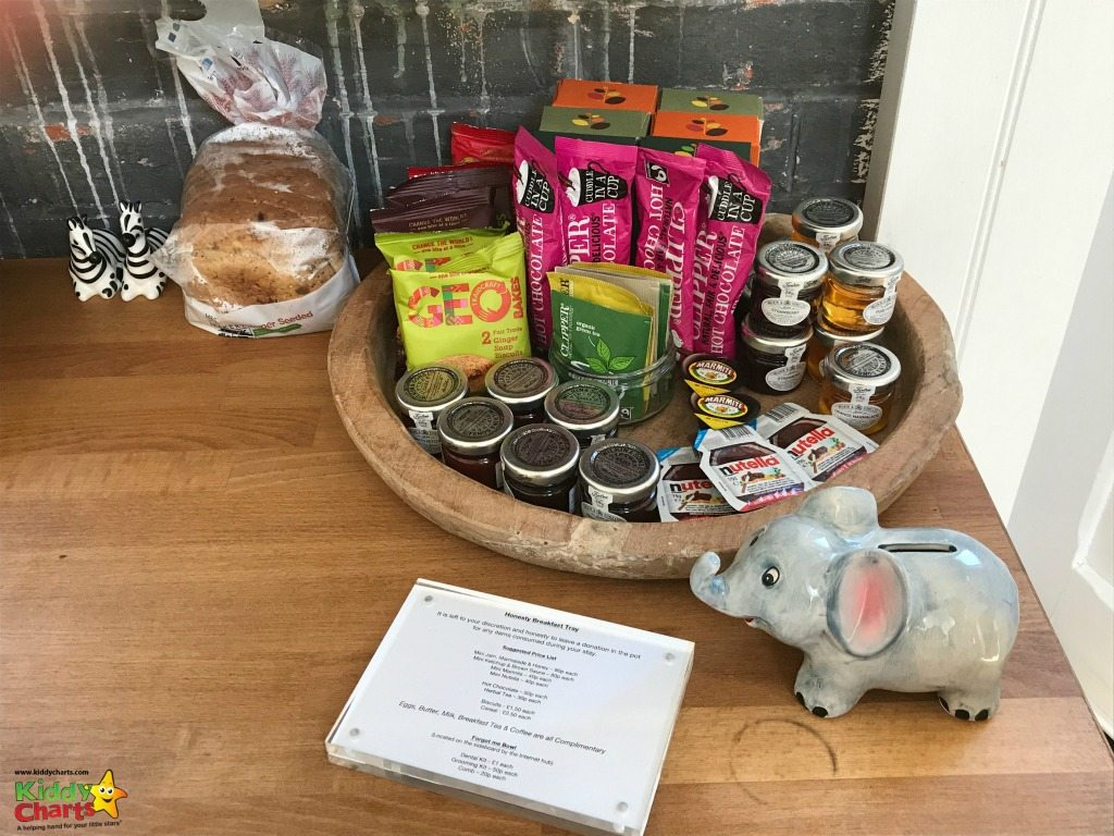 The Two Bare Feet honesty tray allows you to add to the options if you make your own breakfast - and the kids loved that elephant too!