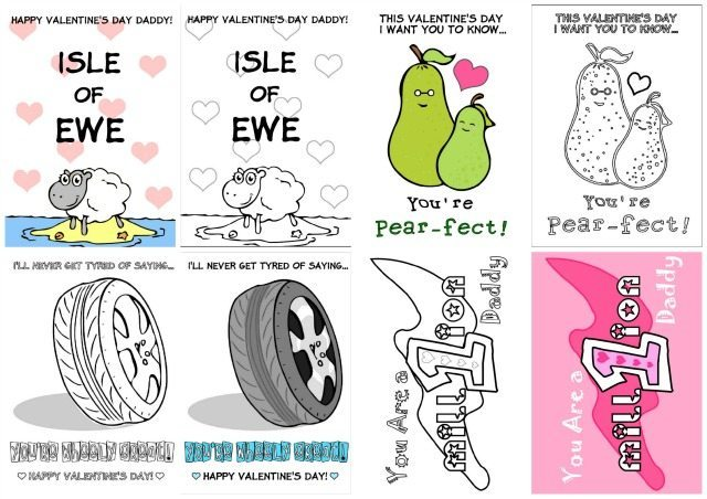 This is what they ALL look like - choose to color in your Valentines Cards for Dad, or print them out, and just personalise your message. We've got them all free to download on the blog today.