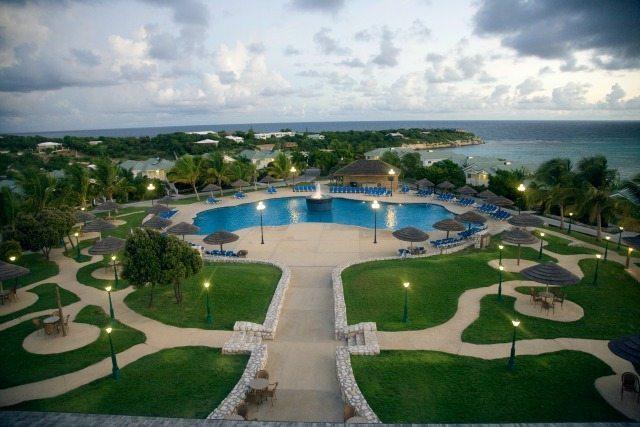 Ariel shot of Verandah Resort and Spa in Antigua's main pool area.