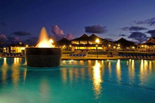 Verandah resport and spa pool at night here in Antigua