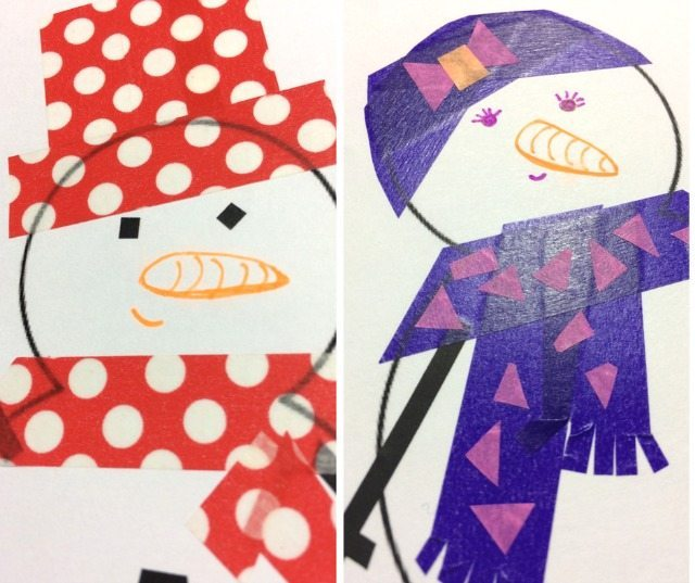 Washi Tape Craft for Kids Snowman Scarves