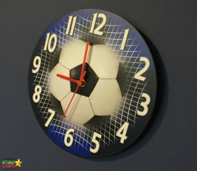 Our Wayfair review football wall clock - looking good against the Tottenham wall paint!