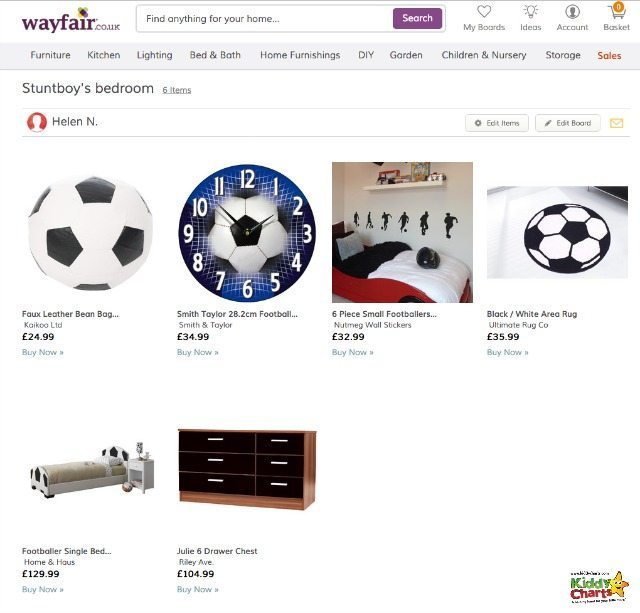We are revamping my tween boys room; he wants a football bedroom theme - these are the ideas we have for him from Wayfair.
