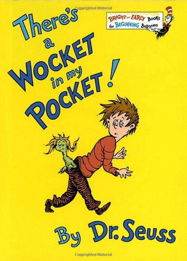 Our favourite Dr Seuss book has always been Wocket in my Pocket. Wonderful idea, and such a greqt book to really get the kids' imagination going.