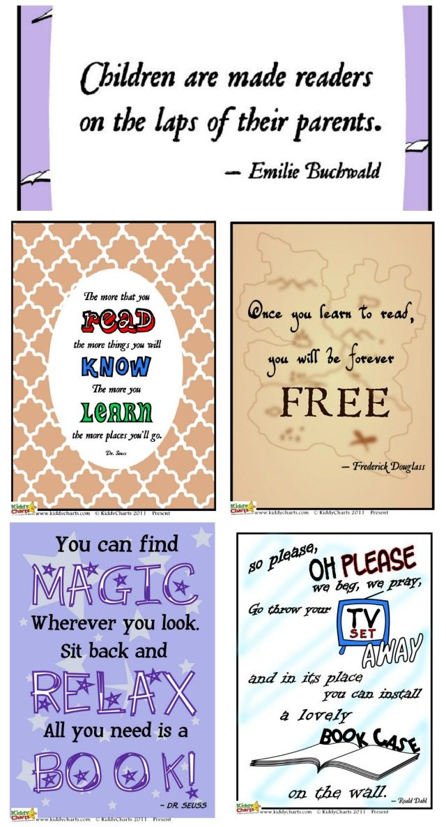 FIVE free posters with great reading quotes for libraries, classrooms and kids bedrooms. You name it, we've got it. Perfect for World Book Day of course, but just as good anytime to encourage your kids to read!