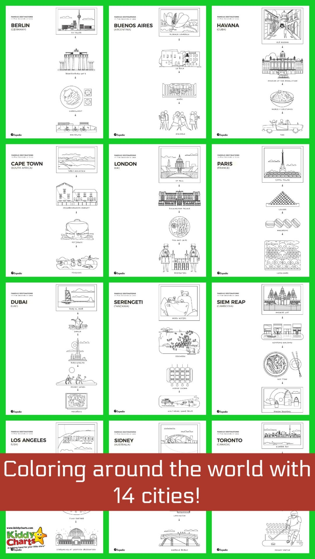 World Cities coloring pages for the kids to explore, and learn about some of the most cities around!
